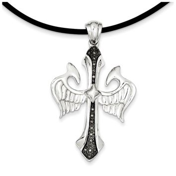 Black Diamond Sterling Silver Cross with Wings & Rubber Cord Necklace