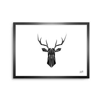 Geo Deer - Black White Geometric Digital Framed Art Print