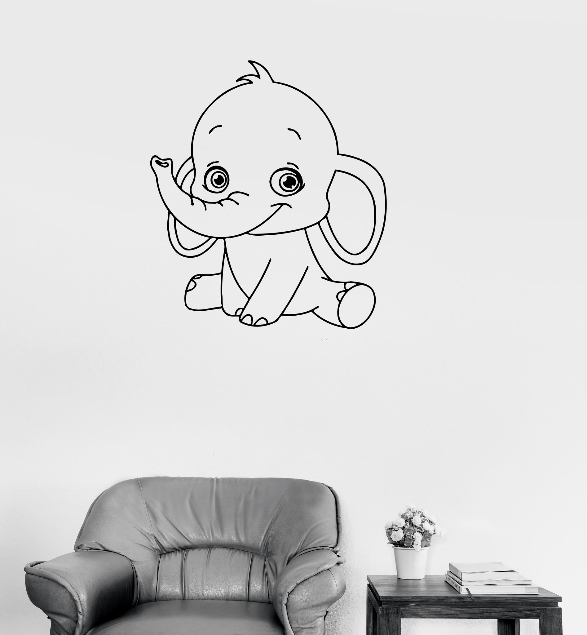Vinyl Decal Baby Elephant Cute Animal From Wallstickers4you