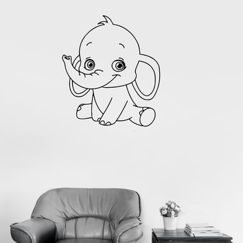 Vinyl Decal Baby Elephant Cute Animal Children Room Wall Sticker (ig232)