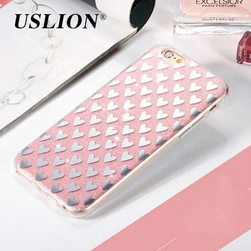 USLION For iPhone 7 Glitter Case Cute Love Heart Bling Shinning Powder Hard PC Phone Cases For iphone7 6 6s Plus 5 5s SE Cover