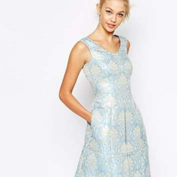 Tahari Debutant Dress In Baroque Jacquard
