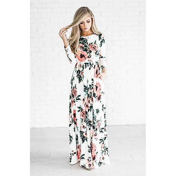 White 3/4 Sleeve Floral Maxi Dress