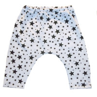 Baby Girls' White CAPRI Leggings with Black Stars