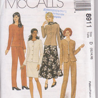 Pattern for office wardrobe unlined, semi-fitted  jacket, tapered pants, flared or straight skirt misses size 12 14 16 McCalls 8911 UNCUT