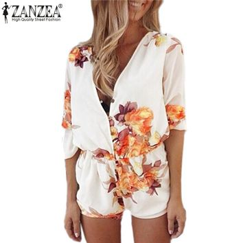 Zanzea New Summer Jumpsuit 2016 Fashion Women V-Neck Sexy Floral Print Botton Chiffon Rompers Casual Beach Playsuits Overalls