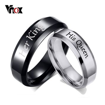 Trendy Vnox His Queen Her King Wedding Rings for Women Men Stainless Steel Anniversary Band Valentine's Day Gift Customize Info AT_94_13