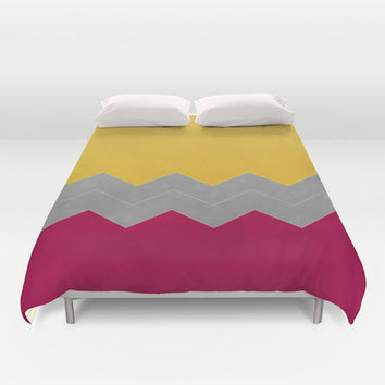 Magenta, Butter and Grey Chevron Duvet Cover by Kat Mun