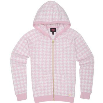 Peony/White Pixie Houndstooth Girls Pixie Houndstooth Sweat Jacket by Juicy Couture,