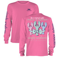 Simply Southern Pursuit Of Preppiness Lobster Bow Long Sleeve T-Shirt