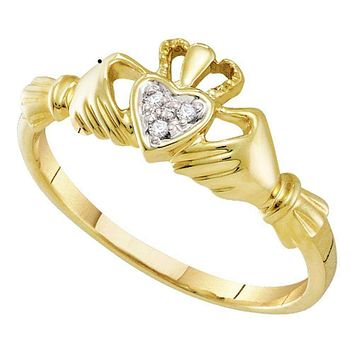 10kt Yellow Gold Women's Round Diamond Claddagh Heart Ring .01 Cttw - FREE Shipping (US/CAN)