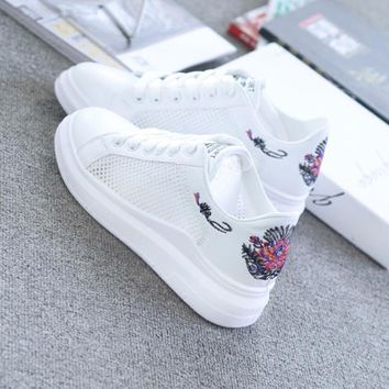 Floral embroidered breathable leather sneakers