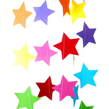 Paper Rainbow Star Garland - Rainbow bunting, rainbow party decor, kids room decor, nursery decor, wedding garland, rainbow wedding decor