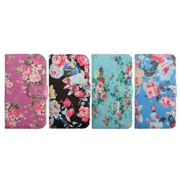 Flowers Print PU Leather Flip Cover Case For Samsung Galaxy Note3