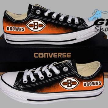 CREYONB Hand Painted Converse Lo. Cleveland Browns. Ohio State. Football. Handpainted shoes