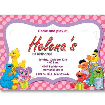Sesame Street and Friends Pink Polka Dot Kids Birthday Invitation Party Design