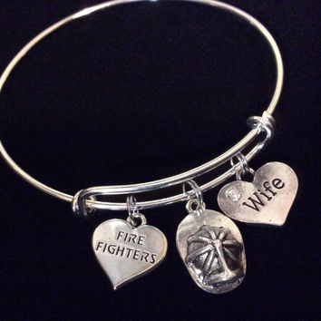 Firefighters Wife Silver Expandable Charm Bracelet Adjustable Wire Bangle Fire Helmet Gift