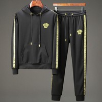 American society sha autumn winter new style fashionable hoodie men's suit hooded two pieces of black casual sportswear
