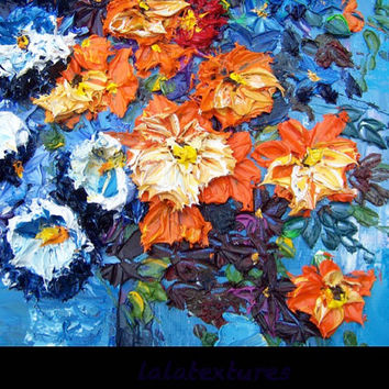 "Large Textured art on canvas, Original Modern art. Floral Oil Painting ,Titled ""Gratitude""  24x 32 , heavy sculpted art by Pauline Mustaikis"