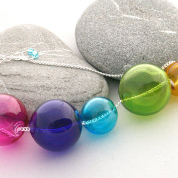 Follow the Yellow Brick Road - Rainbow Jewelry - Glass Orb Necklace - Hand Blown Hollow Glass Beads