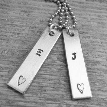 Set of 2 Necklaces Initial Hand Stamped Jewelry Unisex Couples Charm Aluminum Tag Stainless Steel Chain