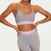 PrettyLittleThing Grey Fishnet Crop Top