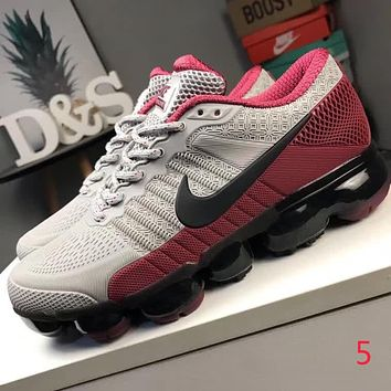 Nike Air Max New Popular Men Personality Shock Absorption Breathable Air Cushion Running Sport Shoe Sneakers Grey/Red I-CQ-YDX