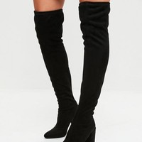 Missguided - Black Faux Suede Over The Knee Boots