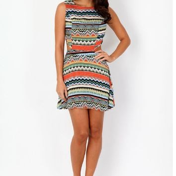Geometric Print Cutout Waist Sleevless Dress