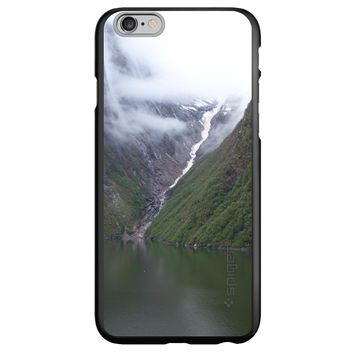 DistinctInk® Spigen ThinFit Case for Apple iPhone or Samsung Galaxy - Tracy Arm Fjord Waterfall