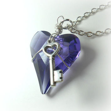 Swarovski Crystal Heart and Key Necklace Lilac by LithiasCreations