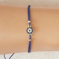 Evil eye, mini evil eye, blue evil eye, evil eye bracelet, gold jewelry, zircon jewelry, christmas gift, mom gift, best friend gift