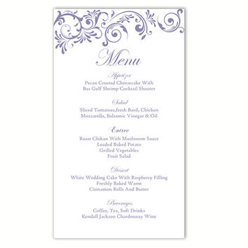 Wedding Menu Template DIY Menu Card Template Editable Text Word File Instant Download Purple Menu Purple Wedding Printable Menu 4x7inch