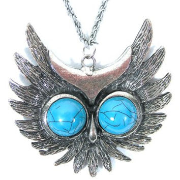 Flying Owl Necklace Silver Tone Bird Turquoise Blue Eyes NE21 Vintage Pendant