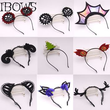 1Pc Halloween Black Lace Wide Hair Band Women Girls Fashion Cat Ears Headband Dance Party Sexy Boutique Hoop Hair Accessories