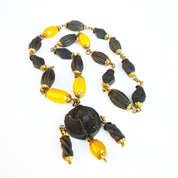 Vintage Shkab Necklace with Bakelite Beads - Butterscotch Bakelite, Black Camel, Rose Petal Beads, Scented Beads, Antique Jewelry