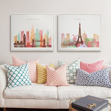 Watercolor Modern London New York Paris City Poster and Print Canvas Painting Pop Wall Art Pictures Living Room Home Decorations