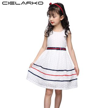 Cielarko Baby Girls Dress Sleeveless Casual Cotton Kids Dresses Summer White Children Party Frocks Design Clothing for Girl
