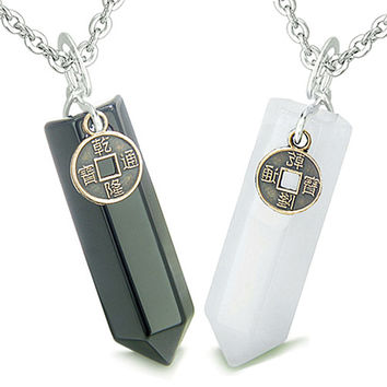 Amulets Love Couple Lucky Coin Crystal Points White Quartz Black Agate Pendant Necklaces