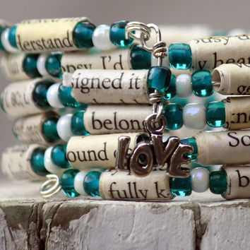 Eat Pray Love Paper Bead Bracelet - Stacking Wrap Bracelet - Memory Wire - Upcycled - Green and White