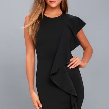 Tender-Hearted Black One Shoulder Bodycon Midi Dress