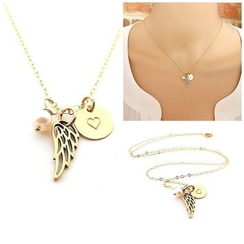 Dainty Angel Wing Necklace - 14k Gold Fill - Memorial Jewelry - Sympathy Gift