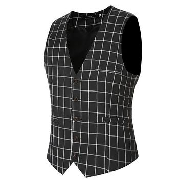 New Arrival Classic Plaid Men Suit Vest Groom Dress Coat Men'S Business Blazer Waistcoat Fashion Vintage Wedding Clothes Z20