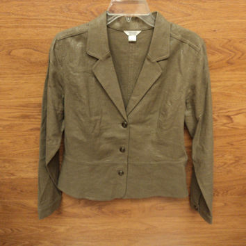 Christopher & Banks Blazer Linen 55% Rayon 45% Female Adult M Browns Solid -- New No Tags