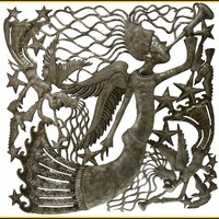 Metal Wall Hanging - Metal Wall Art - Musical Angels - Metal Artwork - Handcrafted Haitian Steel Drum Art - Metal Angel Design - 3010