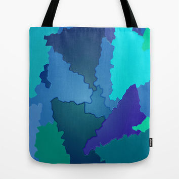 Blues and Greens Puzzle Patchwork Tote Bag by Distortion Art