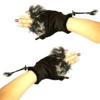 Amazon.com: Winter Soft Fuzzy Furry Real Fur Trim Fingerless Half Cuff Off Gloves Black S/M: Clothing