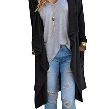Women's Solid Lightweight Open Front Long Trench Cardigan- 6 colors