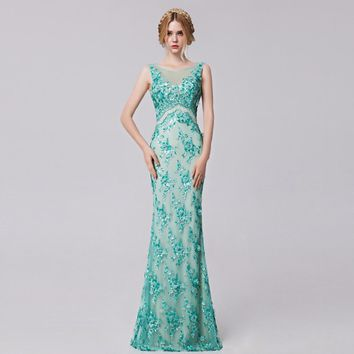 Coniefox 2016 Sleeveless Lace Appliqued Luxury Long Evening Homecoming Dress 31282
