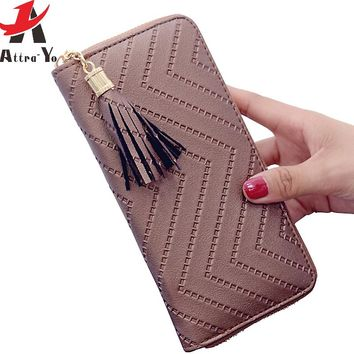 women wallet high quality leather dollar price tassel women purse card holder
